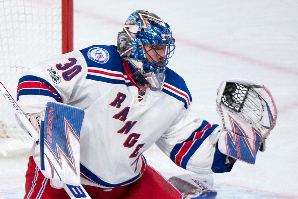 New York Rangers goaltender Henrik Lundqvist makes a