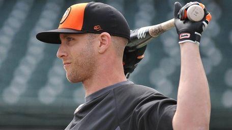 Long Island Ducks outfielder Nolan Reimold, #20, gets