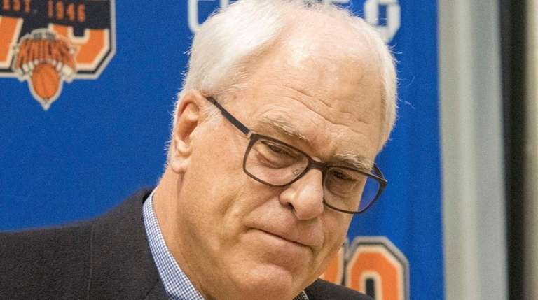 Knicks president Phil Jackson speaks with reporters Friday,