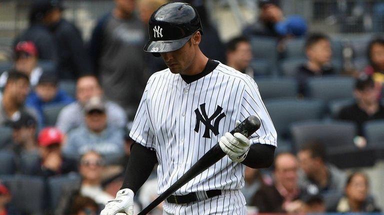 New York Yankees first baseman Greg Bird walks