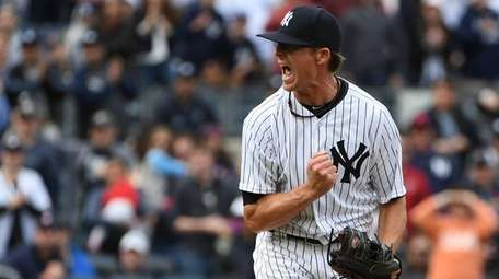 New York Yankees relief pitcher Tyler Clippard reacts