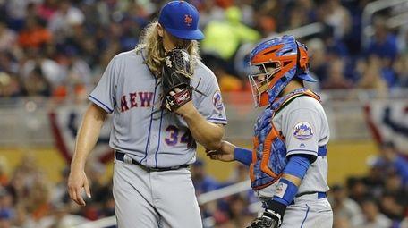 Noah Syndergaard, #34, of the New York Mets