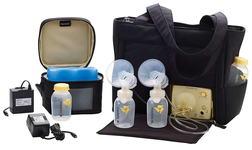 DETAILS: Double-electric breast pump, features built-in bottle holders,