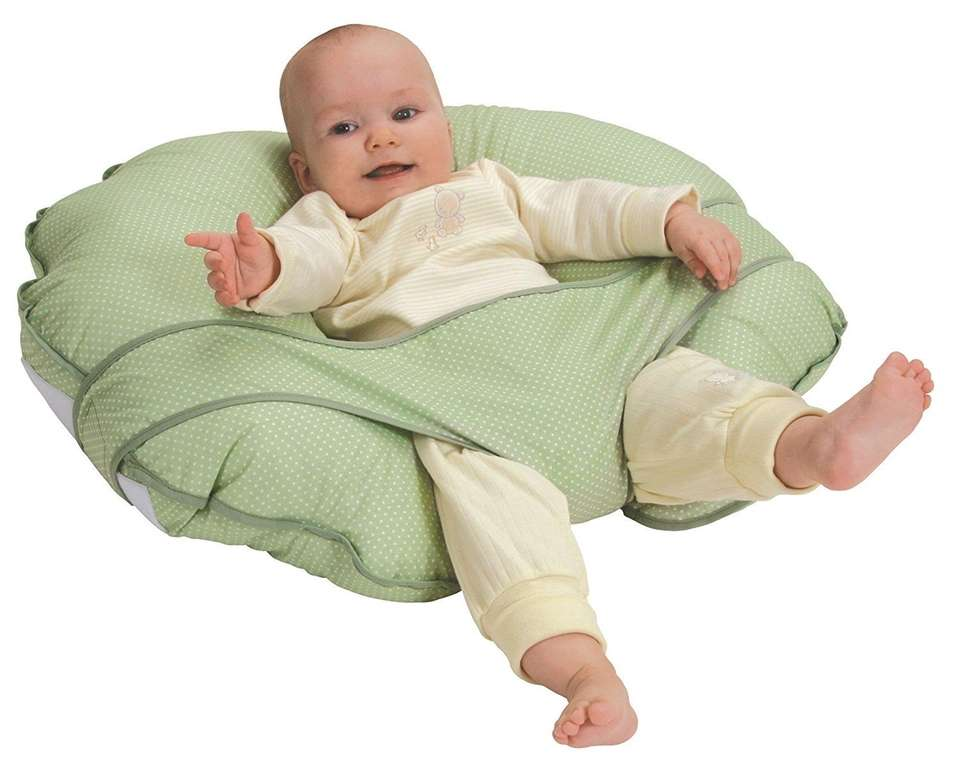 DETAILS: Self-adjusting nursing pillow, reclined positioning, features seat