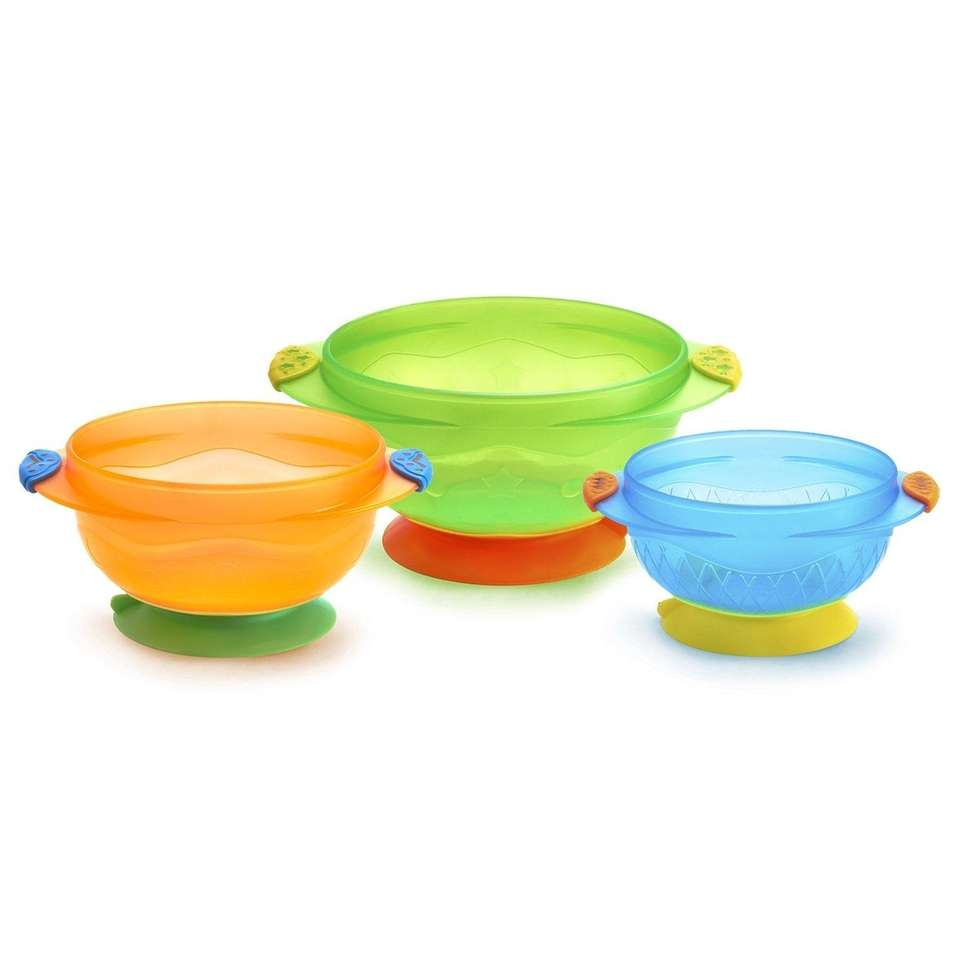 DETAILS: Includes three bowls with suction bases, BPA-free,