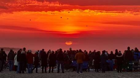 People gather for the annual Easter dawn worship