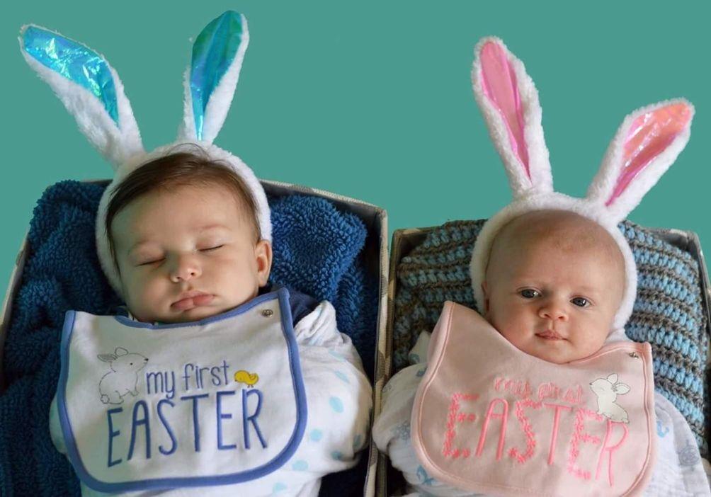 Cousins First Easter Jesse 4 months Teagan 6