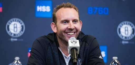 Brooklyn Nets general manager Sean Marks speaks during