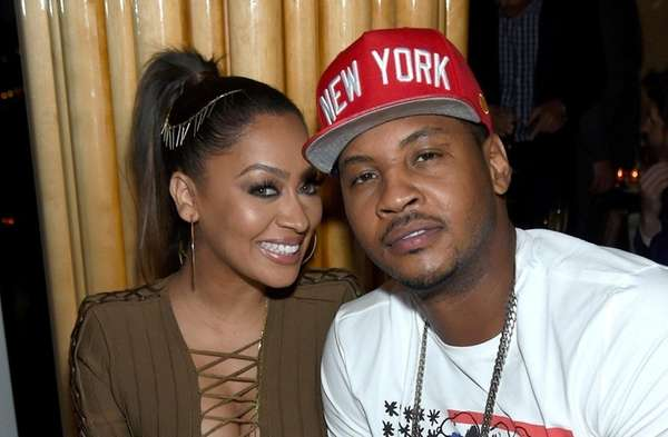La La Anthony, left, and Carmelo Anthony got