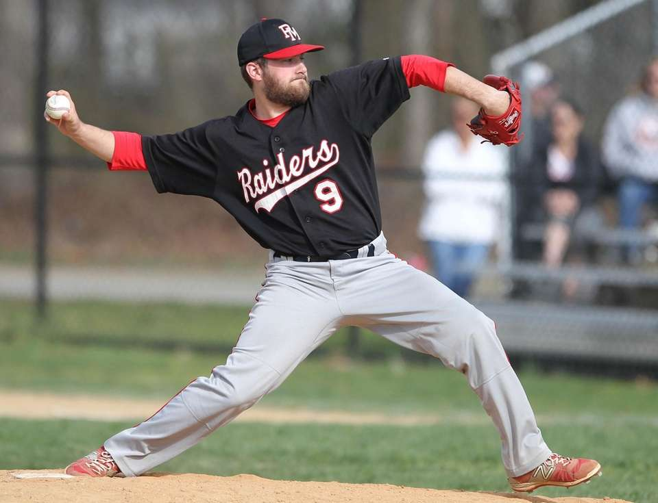 Patchogue-Medford's William Schramm throws a pitch in the