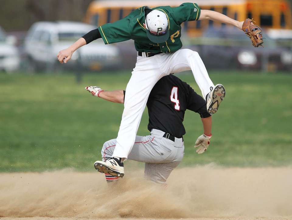 Patchogue-Medford's Vito Morabito slides safely into second base