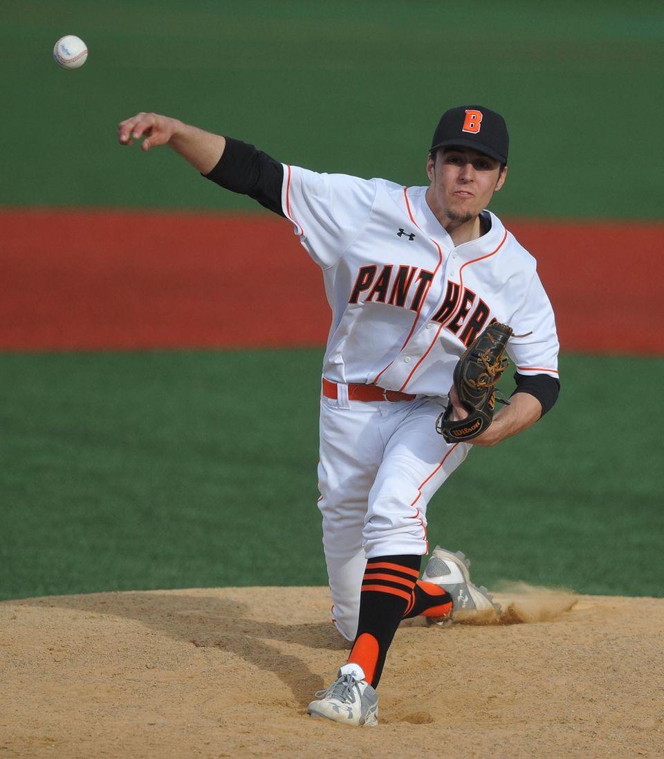 Shaun Kaminski, Babylon starting pitcher, delivers to the