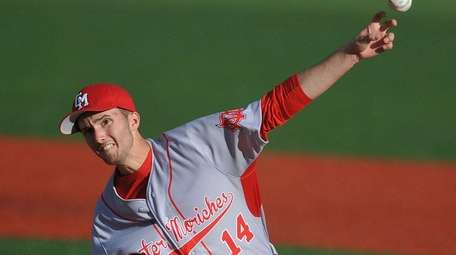 Center Moriches starting pitcher Liam Pulsipher delivers during