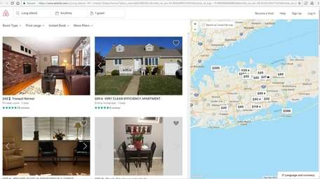 The Airbnb website shows rentals available on Long Island.