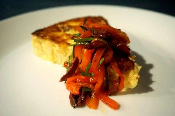 The potato and onion Spanish tortilla, topped with
