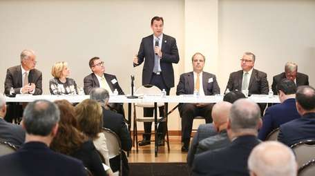 Congressman Thomas Suozzi speaks during the Long Island
