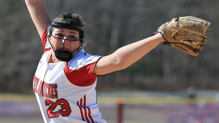 Mollie Dennis #23 of Center Moriches pitches against