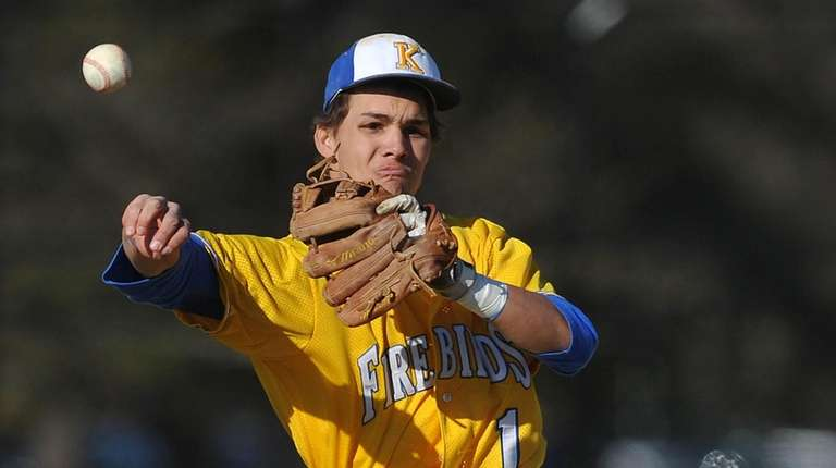 Andrew Russell #1, Kellenberg shortstop, throws to first