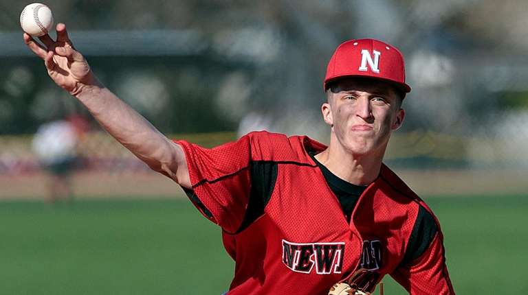 Newfield's starting pitcher Bobby Vath (10) delivers in