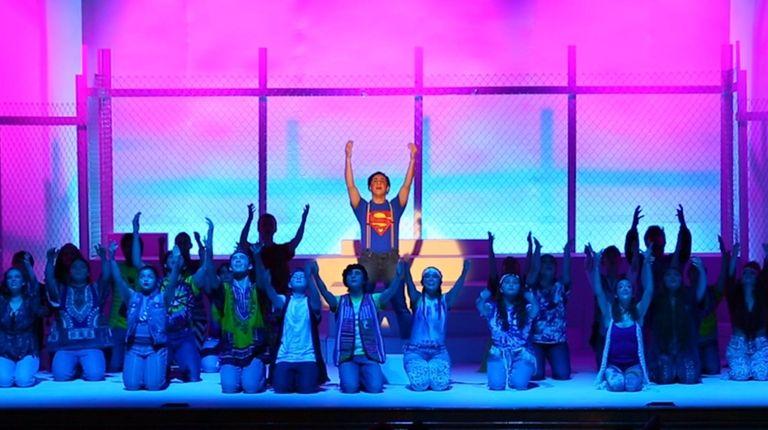 Mount Sinai High School student Alex Bacaris plays