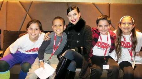 Actress and singer Sofia Carson with Kidsday reporters: