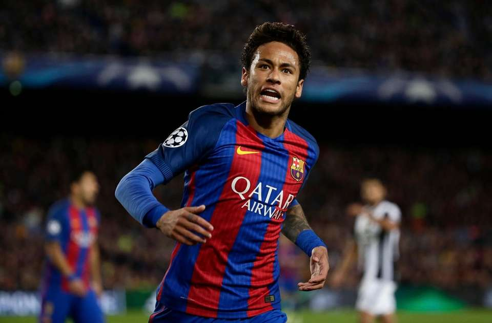 Barcelona's Neymar shouts during the Champions League quarterfinal