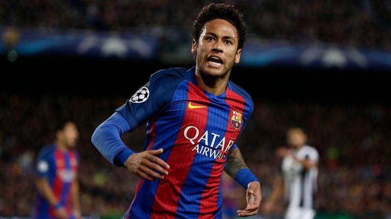 Barcelona's Neymar shouts during the Champions League quarterfinal
