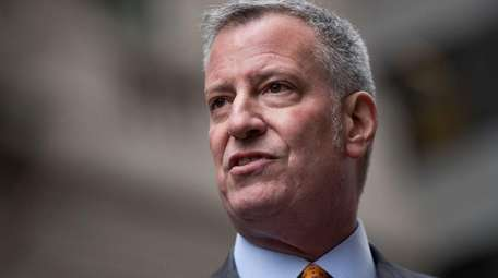 New York City Mayor Bill De Blasio seen