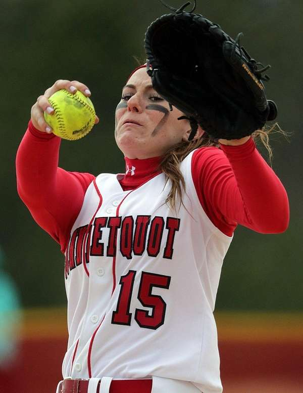 Sarah McKeveny pitches in top of the seventh
