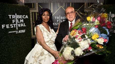 Aretha Franklin and Clive Davis backstage at the