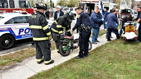 Suffolk County police said a minibike rider sustained