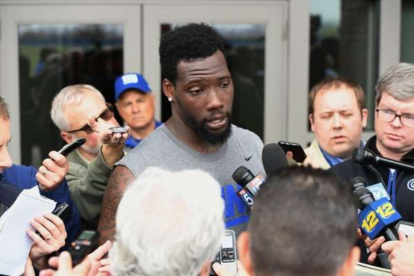 New York Giants defensive end Jason Pierre-Paul answers