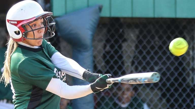 Brentwood's Christalia Bonilla gets the hit during their
