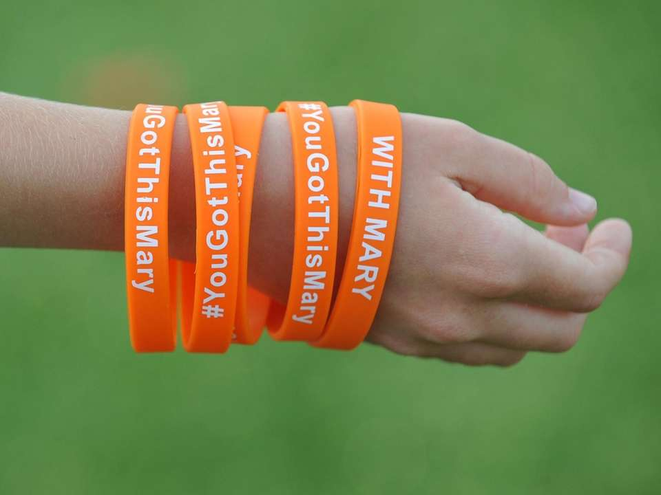 McKenna Jacobs, 11, of Port Washington wears bracelets