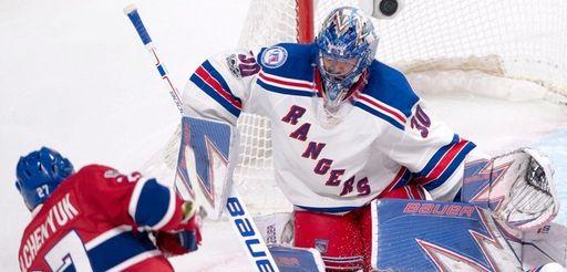 New York Rangers goalie Henrik Lundqvist (30) stops