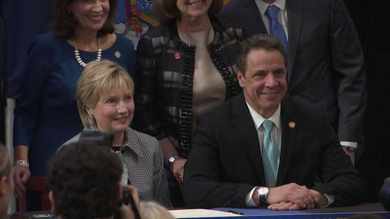 Former Democratic presidential nominee Hillary Clinton joined Gov.