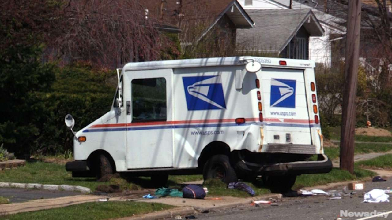 AU.S. postal worker was airlifted to Stony Brook