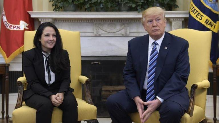 President Donald Trump meets with Aya Hijazi, an