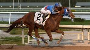 Gunnevera, with jockey Javier Castellano, races in the