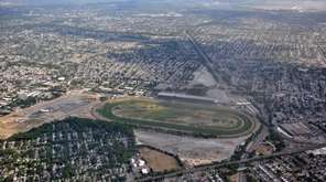 The aerial view over Belmont Park in Elmont