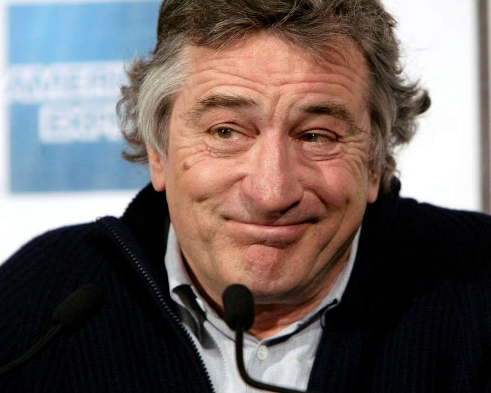 Actor Robert De Niro reacts to a question