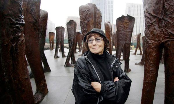 Polish artist Magdalena Abakanowicz at an installation in