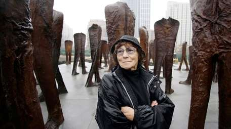 Polish artist Magdalena Abakanowicz at an installation in