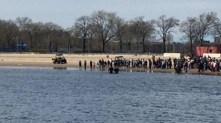 Police respond to Orchard Beach in the Bronx