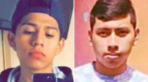 Jorge Tigre, 18, left, of Bellport, and Justin
