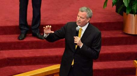 New York City Mayor Bill de Blasio offers