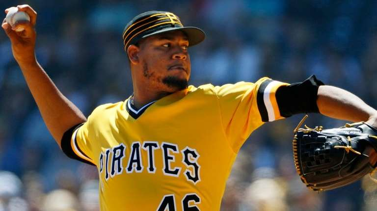 Pirates starter Ivan Nova delivers during the