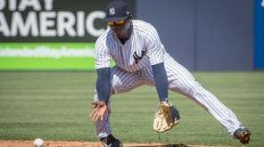 New York Yankees shortstop Didi Gregorius fields a ball