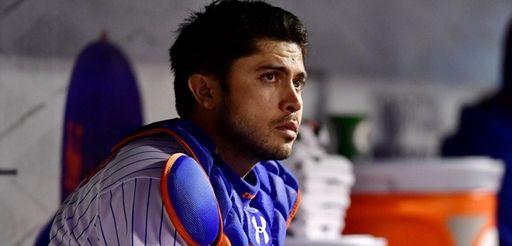 Travis d'Arnaud #18 of the New York Mets