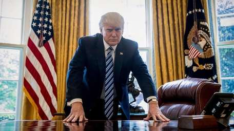 President Donald Trump, here in the Oval Office